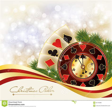 christmas poker greeting casino banner stock vector