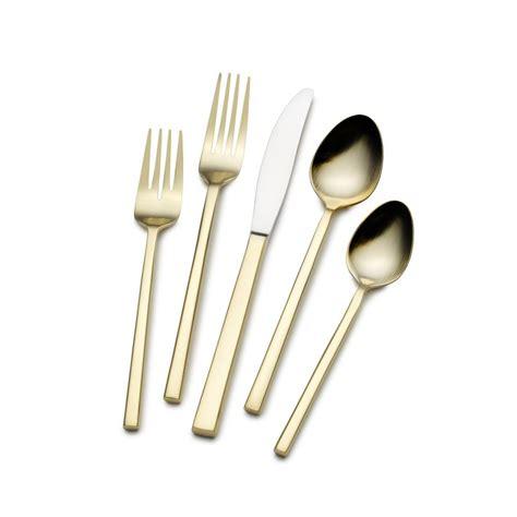 alpha 20 piece flatware set modern flatware and museum by hollister 24 karat gold plated flatware has a