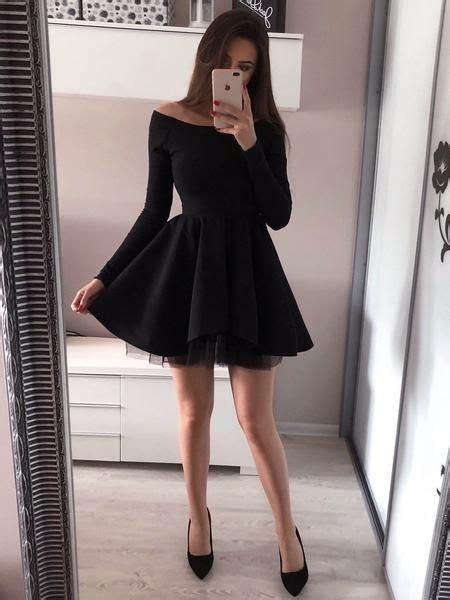 tight black long sleeve short cheap homecoming dresses