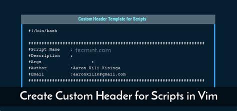 design custom header how to create custom header template for shell scripts in vim