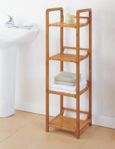 bamboo bathroom shelves new 4 tier bamboo bathroom shelf towel tower organizer ebay