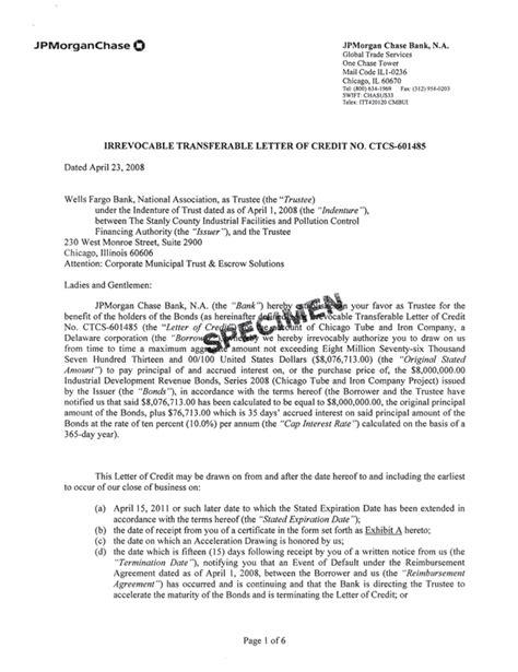 Letter Of Credit Fargo fargo transferable letter of credit docoments ojazlink