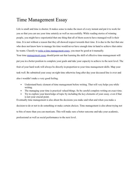 Management Essay Topics by Time Management Essay