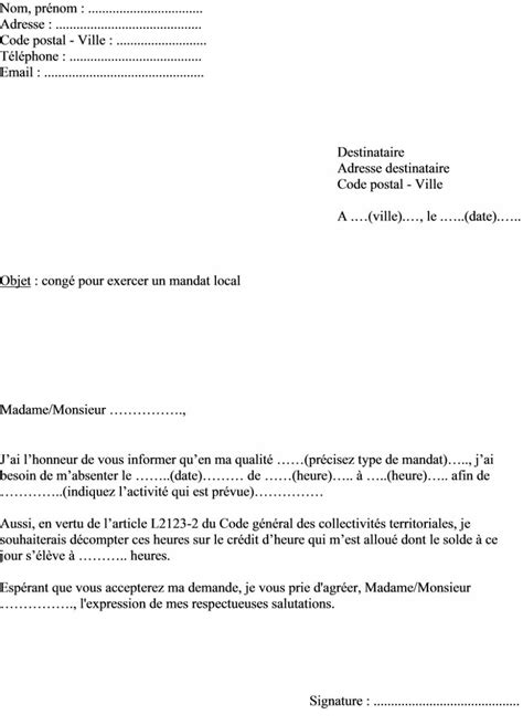Demande De Cong Bonifi Lettre Type pin modele lettre mandat de recours on