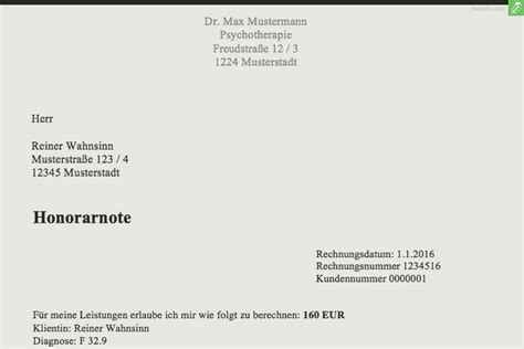Vorlage Rechnung Heilpraktiker musterrechnung psychotherapeut kostenlose honorarnoten everbill magazin