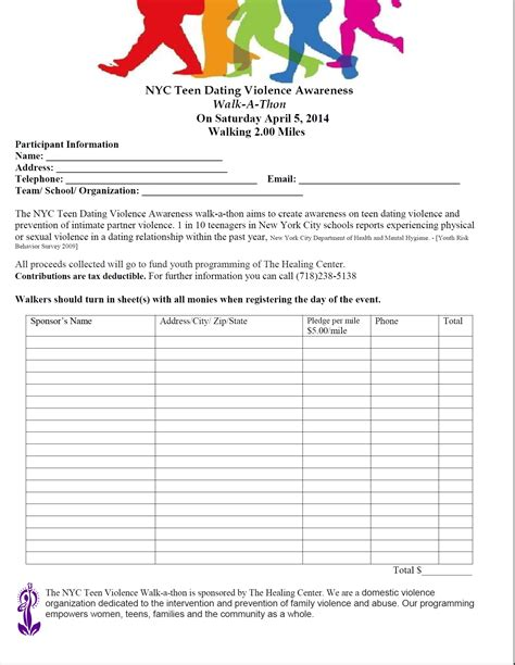 walkathon registration form template ministries
