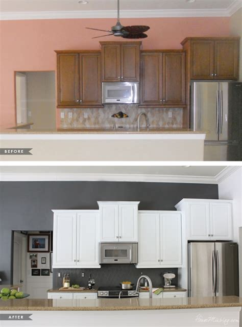 painting kitchen cabinets before and after how i transformed my kitchen with paint house mix