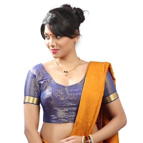 Blouse Fashion Bordirr buy blue silk stitched blouse with paithani border with maharashtrian style blouse