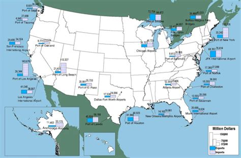 map of united states airports figure 3 17 top 25 foreign trade freight gateways by