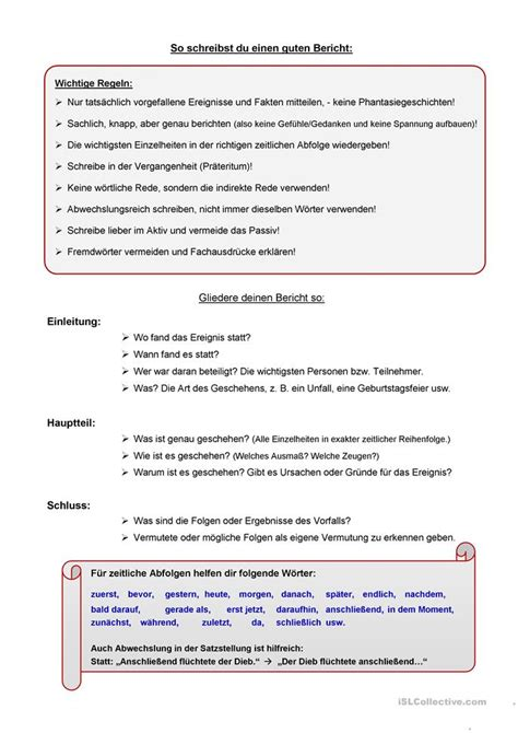 C1 Schreiben Muster Bericht Schreiben Arbeitsblatt Kostenlose Daf Arbeitsbl 228 Tter