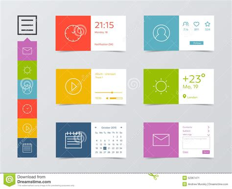 design html mobile flat mobile web ui kit stock vector image 52367471