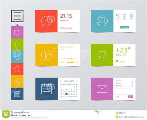 Flat Mobile Web UI Kit Stock Vector   Image: 52367471