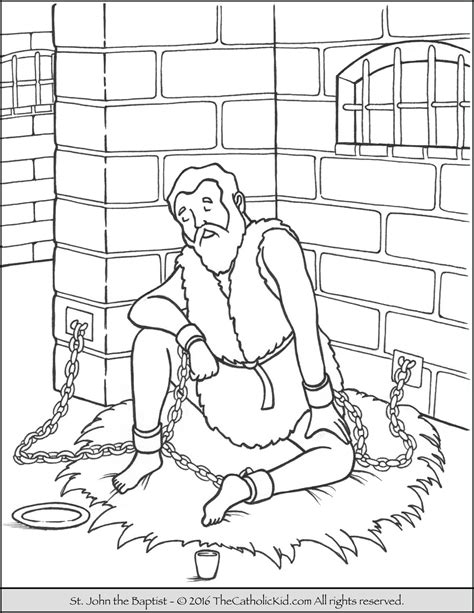 coloring pages john the baptist saint john the baptist imprisoned coloring page catholic