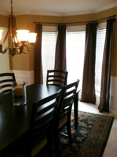 curtains for bay windows in dining room bay window curtains in the dining room my home decor