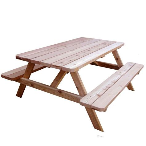 picnic bench table outdoor living today 6 ft x 5 ft cedar picnic table the home depot canada