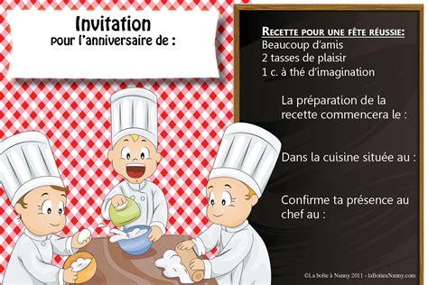 des gar輟ns dans la cuisine carte invitation anniversaire gratuite 224 imprimer creer
