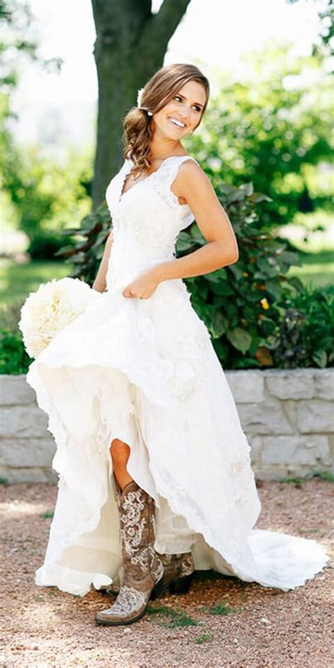 Wedding Dresses With Boots by 45 Country Wedding Dress With Cowboy Boots