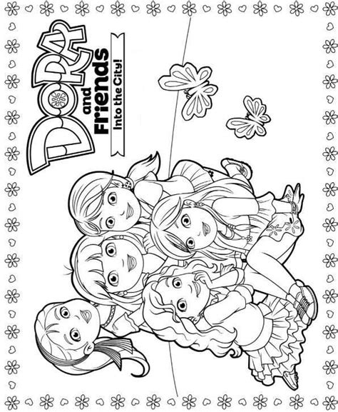 dora and friends into the city coloring pages coloring