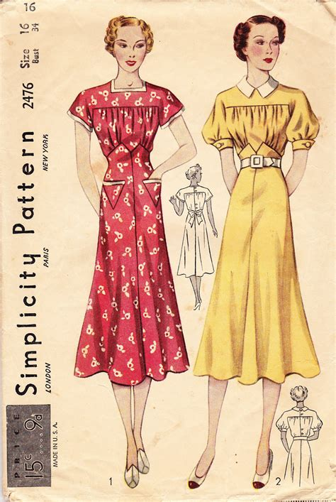womens fashion mid thurtys vintage 1930 s women s dress pattern simplicity 2476