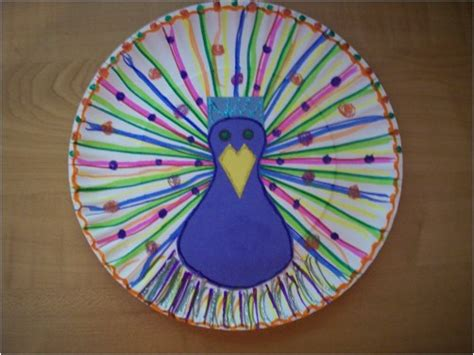 Peacock Paper Plate Craft - paper plate peacock redgage