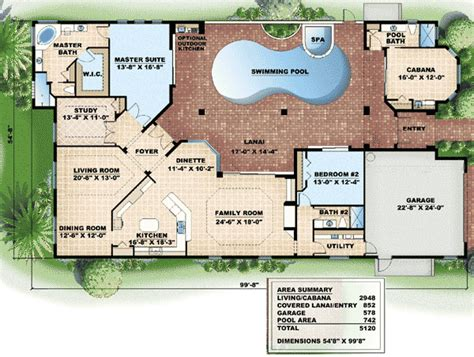 home plans with a courtyard and swimming pool in the center pool wrap 66000gw 1st floor master suite cad