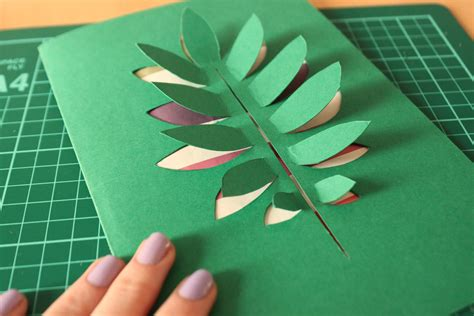 Paper Leaf Craft - diy paper cut leaf card shelley makes