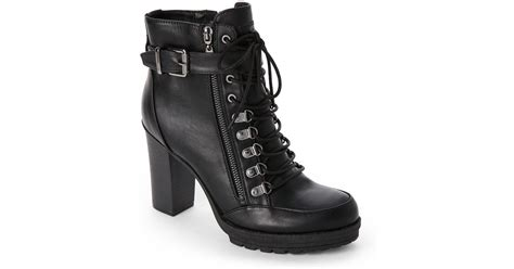 High Heels G lyst g by guess black grazzy high heel combat boots in black