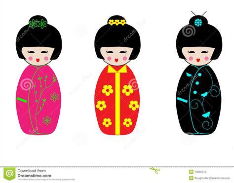 imagenes de geishas japonesas animadas bambole giapponesi di kokeshi del geisha illustrazione di