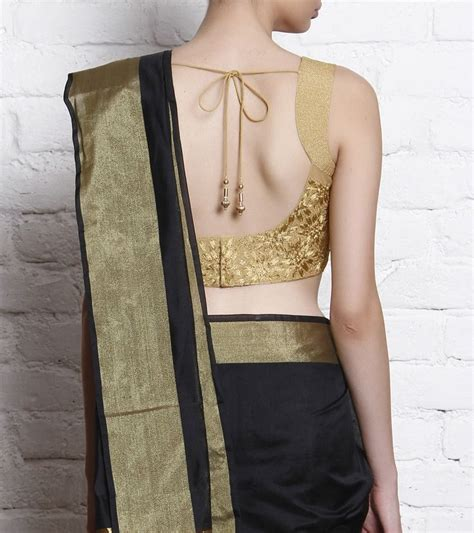 golden net blouse with pitta work indian wedding saree