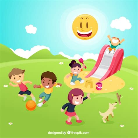 imagenes de niños jugando en un parque ni 241 os jugando en el parque descargar vectores gratis