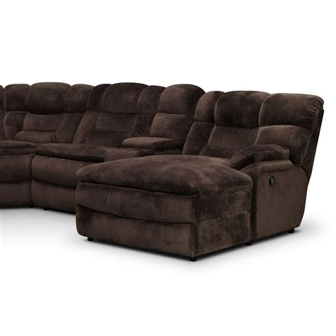 Reclinable Sectional Sofas Big Softie 6 Power Reclining Sectional With Right Facing Chaise Chocolate American