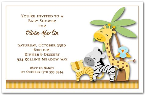 Jungle Themed Baby Shower Invitations by The Invitation Shop The Invitation Shop