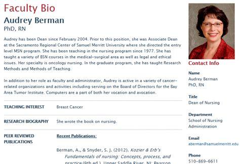 short biography exle academic publishing faculty bio web pages samuel merritt university