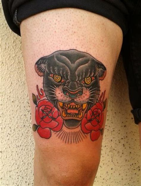 tattoo old school panther old school panther thigh tattoo by zoi tattoo