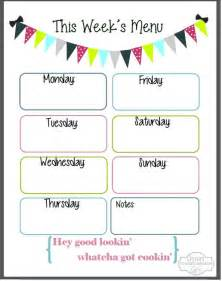 Blank Weekly Menu Template by 5 Best Images Of Free Printable Blank Weekly Menu