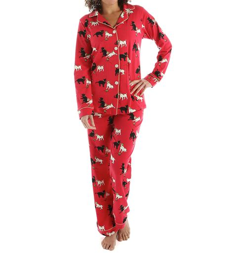 bed head pjs bedhead pajamas red cats and dogs long sleeve classic pj