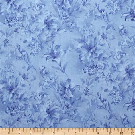Coverlet Fabric Day Lily 108 Quot Wide Quilt Backs Floral Blue Discount