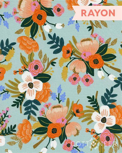 Rifle Paper by Lively Floral In Mint Rayon From Amalfi By Rifle Paper Co