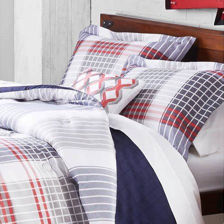 nautical navy red white plaid bedding comforter set pillow