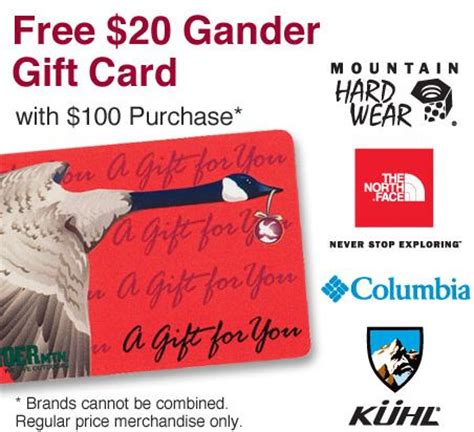 Where Can I Buy Columbia Gift Cards - north face deals 20 gander mountain gift card with a 100 purchase