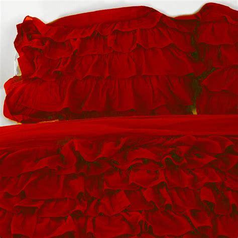 red ruffle comforter red ruffle bedding