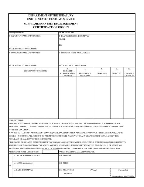 us certificate of origin template 28 images