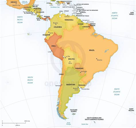 map of american continent printable political map of south america images