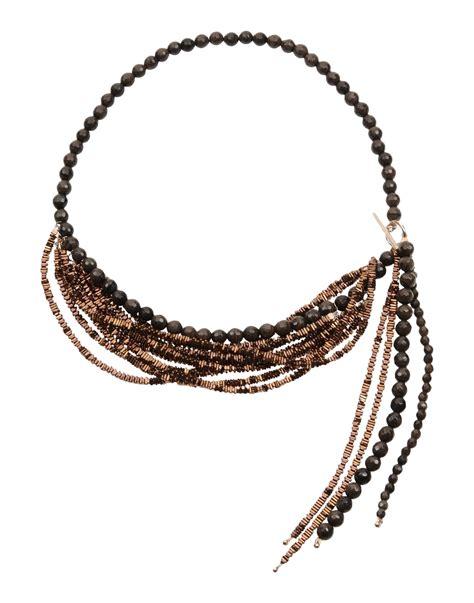 lyst brunello cucinelli necklace in brown