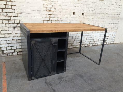 steel bureau bureau bois metal bureau merisier lepolyglotte