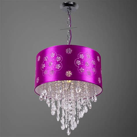 Purple Light Pendant Joshua Marshal 1 Light Purple Drum Shade Pendant In Chrome 7035 From Shaded Light Collection