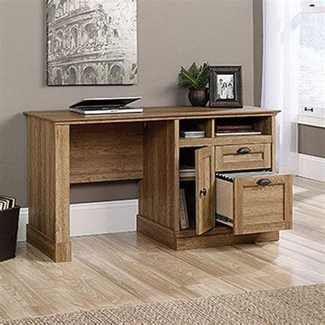 sauder palladia executive desk in vintage oak sauder barrister scribed oak desk with storage 418294