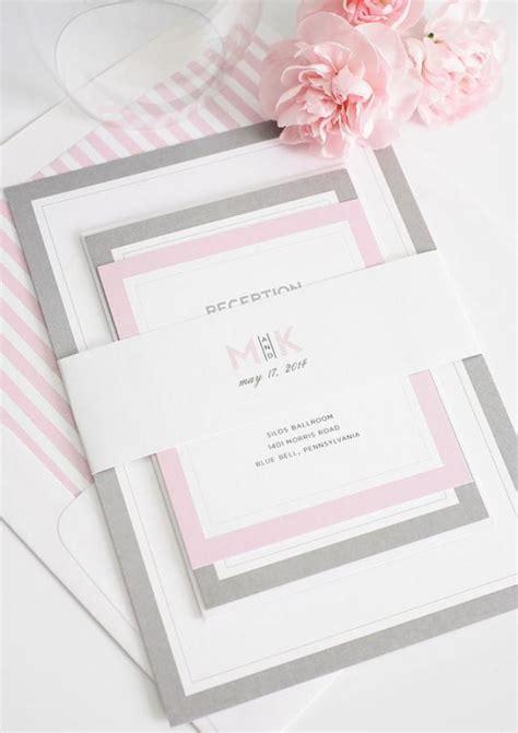 custom wedding invitations connecticut gray and pink wedding invitation unique wedding invites modern initials wedding
