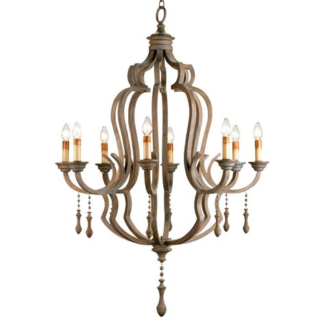 Chandeliers Wood Normandy Large French Wood 8 Light Washed Grey Chandelier