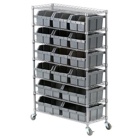 seville classics seville classics 7 shelf commercial bin rack system she16510bx the home depot